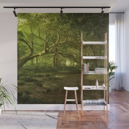 Fantasy Forest Painting Green Wood Wall Mural