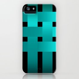 Abstraction .Weave turquoise satin ribbons . Patchwork . iPhone Case