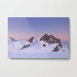 Dawn at the Jungfrau peak from Jungfraujoch in Switzerland Metal Print