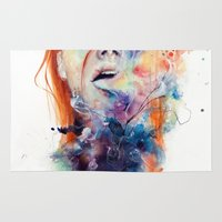 dope Area & Throw Rugs featuring this thing called art is really dangerous by agnes-cecile