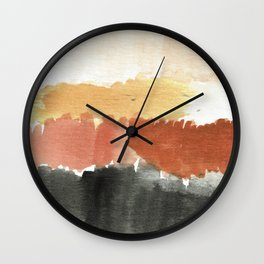 Abstract in Rust n Clay Wall Clock