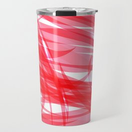 Red and smooth sparkling lines of pink ribbons on the theme of space and abstraction. Travel Mug