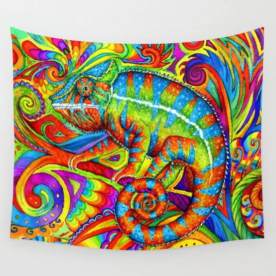 Psychedelizard Psychedelic Chameleon Wall Tapestry