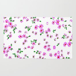 Fashion Textail Floral Print Design, Flower Bouquet Allover Pattern Rug