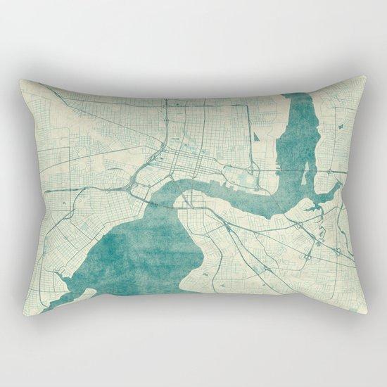 Jacksonville Map Blue Vintage Rectangular Pillow