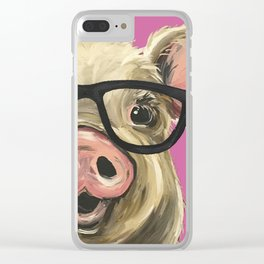 Colorful Pig, Cute Pig Art, Pink Pig Clear iPhone Case