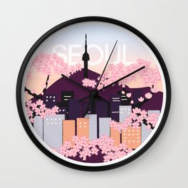 Seoul Tower with Cherry Blossoms Woodblock Style Souvenir Print Wall Clock