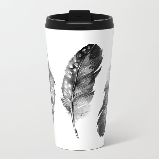 Three Feathers Black And White Metal Travel Mug