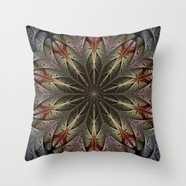Fractal flower with a golden heart Throw Pillow