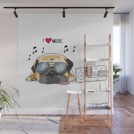 I love music-rock pug Wall Mural