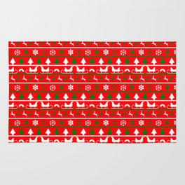 Red White & Green Ugly Sweater Nordic Knit Rug
