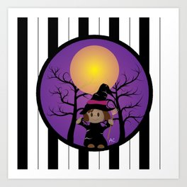 Kid in a witch costume Art Print