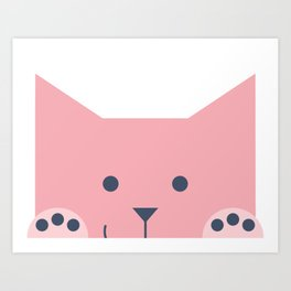 Peek-a-Boo Kitty with Paws Up and Little Smile, Pink and Navy Art Print