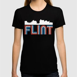 Red White Blue Flint Michigan Skyline T-shirt