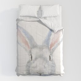 Gray Bunny Rabbit Watercolor Painting Comforters