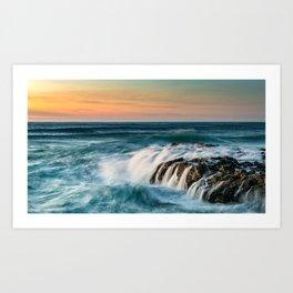 Cape Perpetua Ocean Waterfall Sunset Art Print