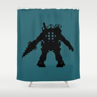 bioshock Shower Curtains featuring Big Daddy from Bioshock Silhouette by Jessica Wray