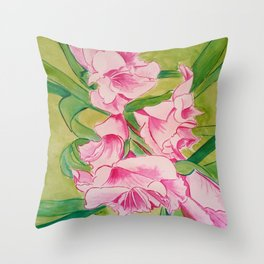 Her Mother's Gladiolus Throw Pillow