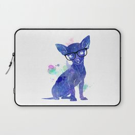 Hipster chihuahua blue edition Laptop Sleeve