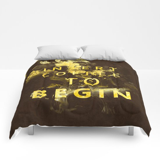 Insert coffee to begin - Gold glitter Typography Comforters