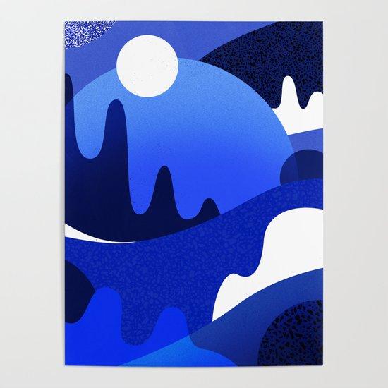 Terrazzo landscape blue night by sylvaincombe