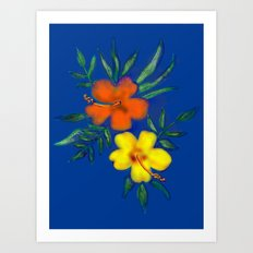 Hibiscus in blue Art Print