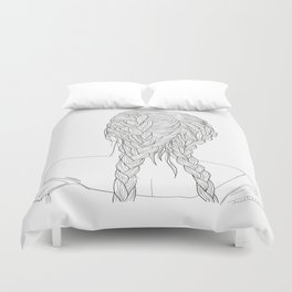 Woman with braids Duvet Cover