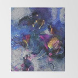Contemporary Abstract Art in Blue and Yellow Throw Blanket