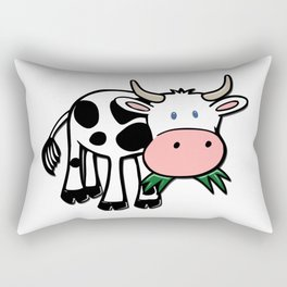 Black and White Steer Munching Grass Rectangular Pillow
