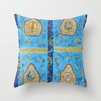 literature Throw Pillows featuring Obscene Literature by mel b textiles