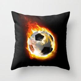 Soccer Fire Ball Throw Pillow