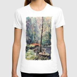 Watercolor batik on rice paper of bridge at Sarah P. Duke Gardens- Durham, NC T-shirt