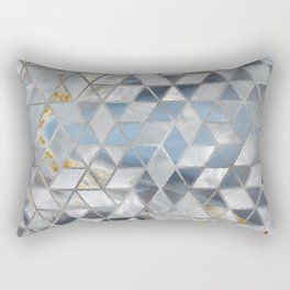 Geometric Translucent Agate and Mother of pearl Rectangular Pillow