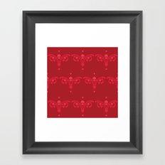 Skulls and hearts Framed Art Print