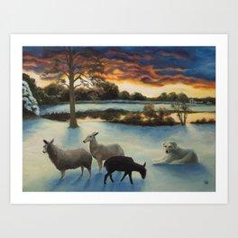 Flock in Winter Art Print