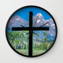 Grand Teton Cross View Wall Clock