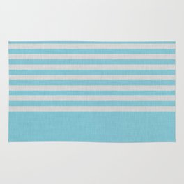 Sky blue and gray color block and stripes Rug