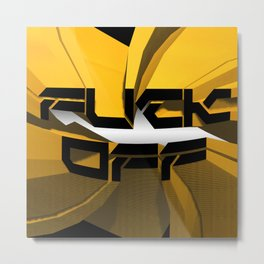 FUCK OFF, Black and Yellow Metal Print