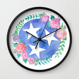Tennessee Tri-star with flowers Wall Clock