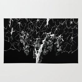 Black cardboard. Vine trees. Grapes. White ink Rug