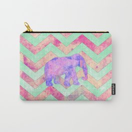 Whimsical Purple Elephant Mint Green Pink Chevron Carry-All Pouch