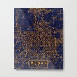 Medan, Sumatra, Indonesia Map - City At Night Metal Print