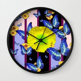 BLUE BUTTERFLY &  LEMON YELLOW FLOWER FLORAL CAGE Wall Clock