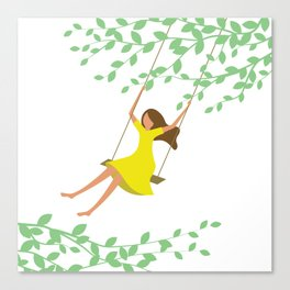 Happy times. Little girl in bright yellow dress on the tree swing. Canvas Print