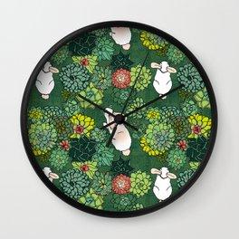 Rabbits in a Succulent Garden Wall Clock