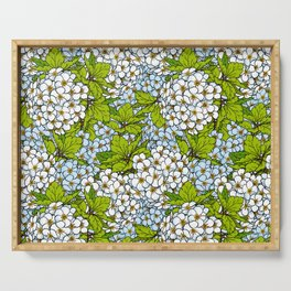 White Spirea Blossoms & Leaves Serving Tray