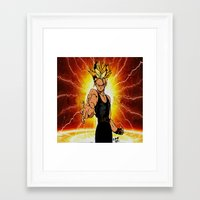 dragonball z Framed Art Prints featuring Dragonball Z Trunks sketch colored by bernardtime