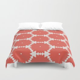 Red Stars of Christmas Pattern Geometric Abstract Duvet Cover