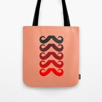 mustache Tote Bags featuring Mustache by Spooky Dooky