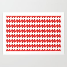 jaggered and staggered in poppy red Art Print